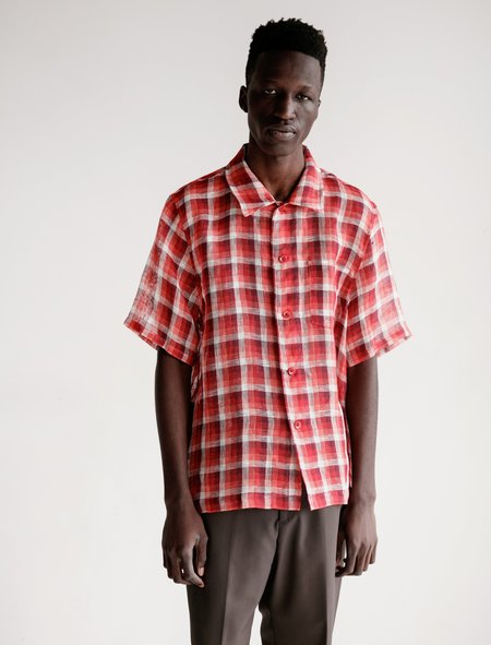 Our Legacy Box Shirt - Red Net Check