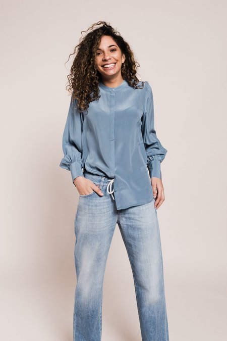 Just Female Silky Shirt - Provincial Blue