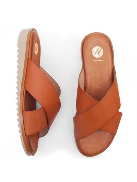 Hudson Sky Leather Slip on Sandals - Tan