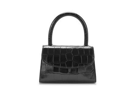 BY FAR Mini in Black Croco Embossed Leather