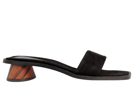 BY FAR Sonia Sandal in Black Suede Leather