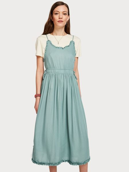 Maison Scotch Viscose Summer Midi Dress w/ Straps - Green