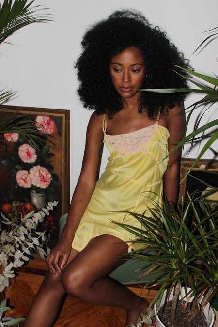 Vintage Canary Silk Romper - Bright Yellow