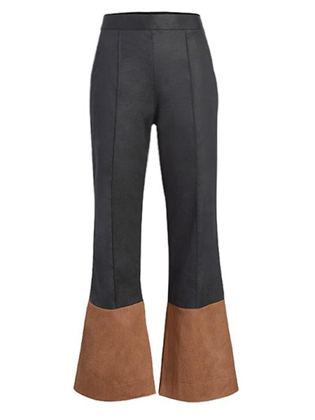 ARIAS Two Tone Flare Pant With Slit At Bottom - Black/Brown