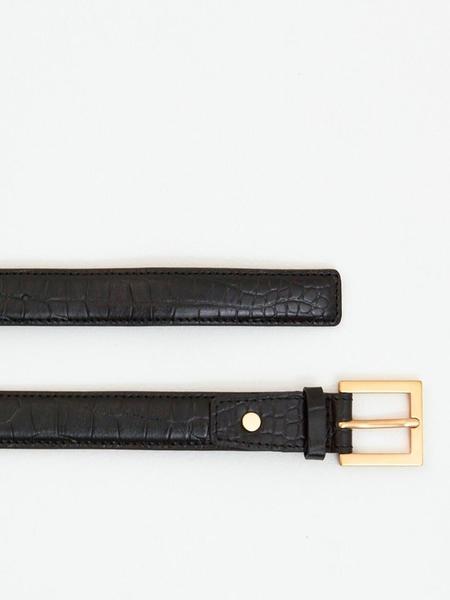 GABRIEL LEE Alligator-Embossed Leather Belt - Gold