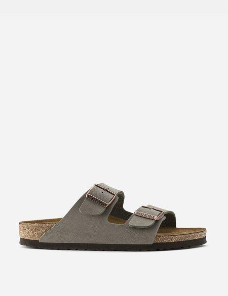 Birkenstock Arizona Sandals in Nubuck Leather Regular - Stone Grey