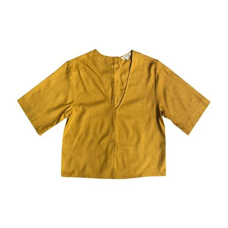 Ali Golden V-NECK TOP With BACK BUTTONS - SUNFLOWER