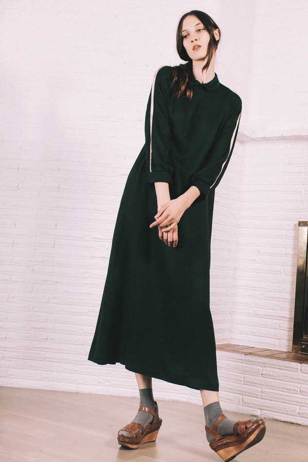 Kate Towers deep green dress with stripe