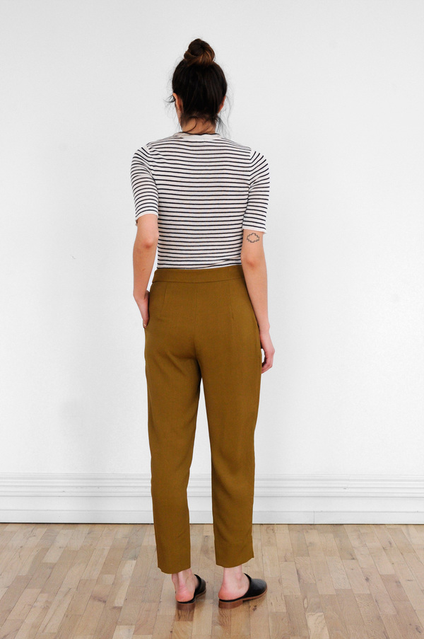 Waltz Double Pleat Trousers in Golden Olive