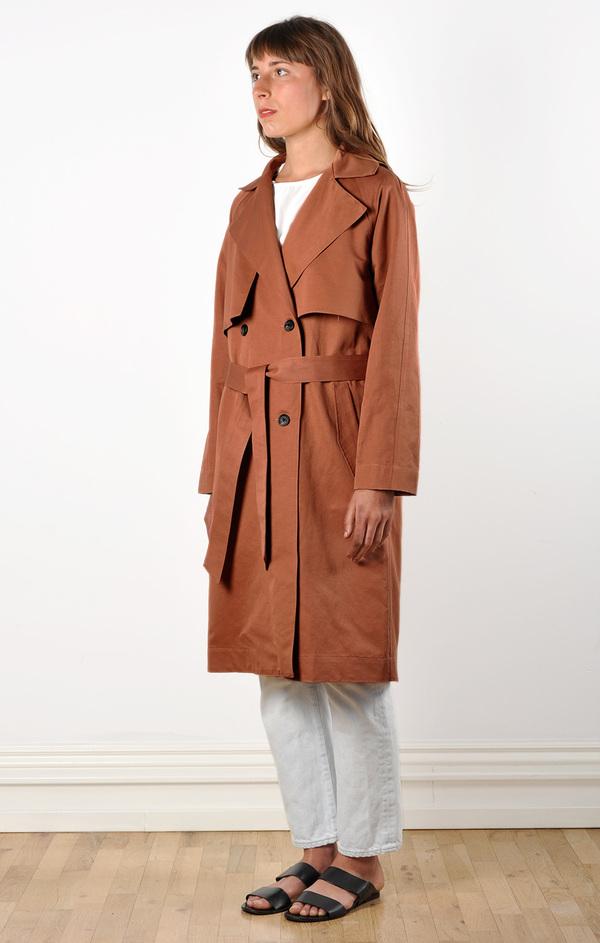 Waltz Trench Coat in Terracotta Linen/Cotton Twill