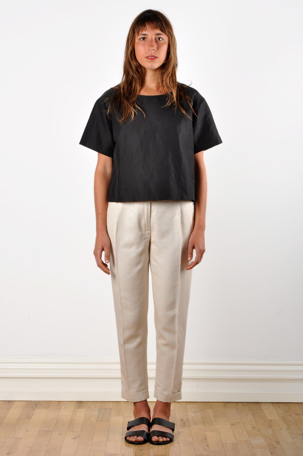 Waltz Ankle-Length Pleated Trouser in Ivory Textured Raw Silk