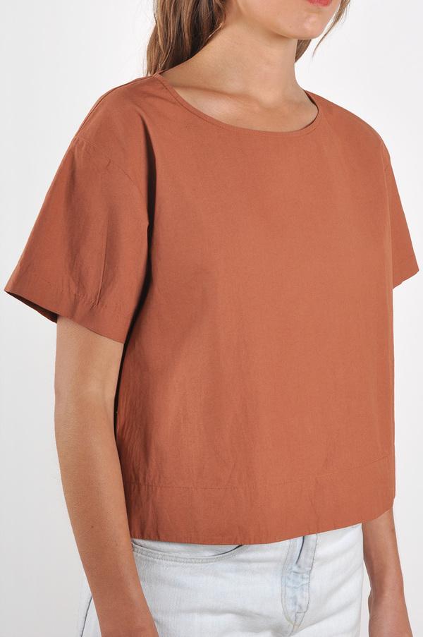 Waltz Drop Shoulder T-shirt in Terracotta Cotton Poplin
