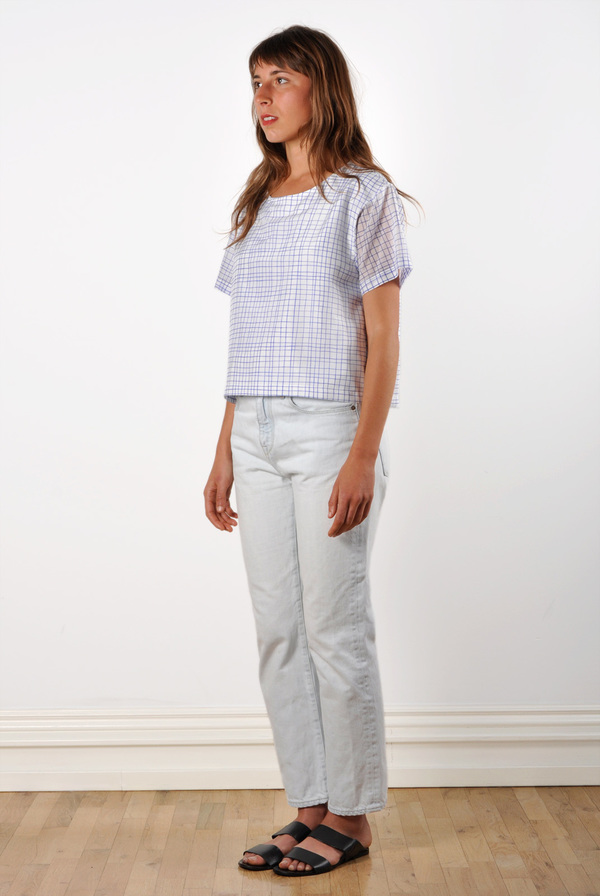 Waltz Drop Shoulder T-Shirt in Grid Print Cotton/Silk Voile