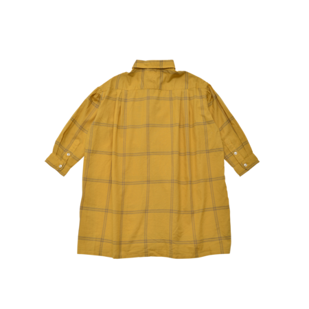 unisex kids East End Highlanders Waft Long Shirt - Yellow/Grey Plaid