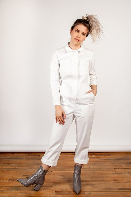 Iris Denim Shy Boy Jumpsuit - White