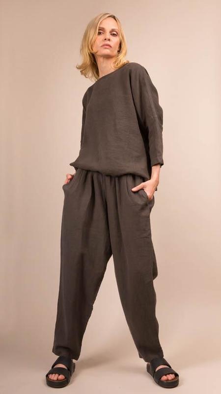 Black Crane Carpenter Linen Pants - Charcoal