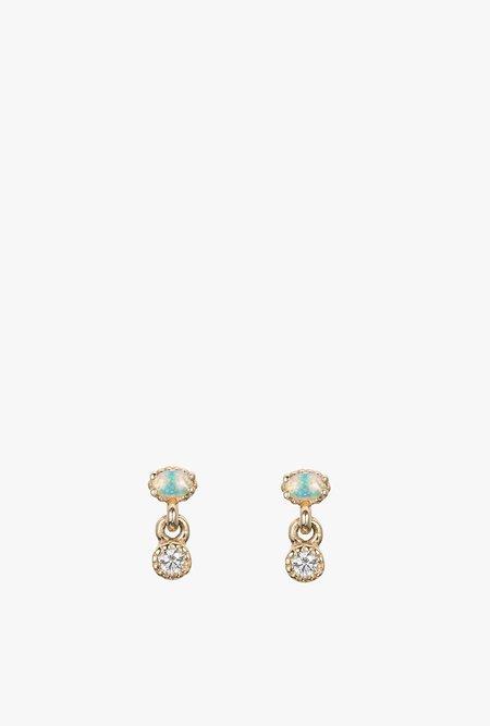Jennie Kwon Designs Diamond Opal Drop Stud Earring