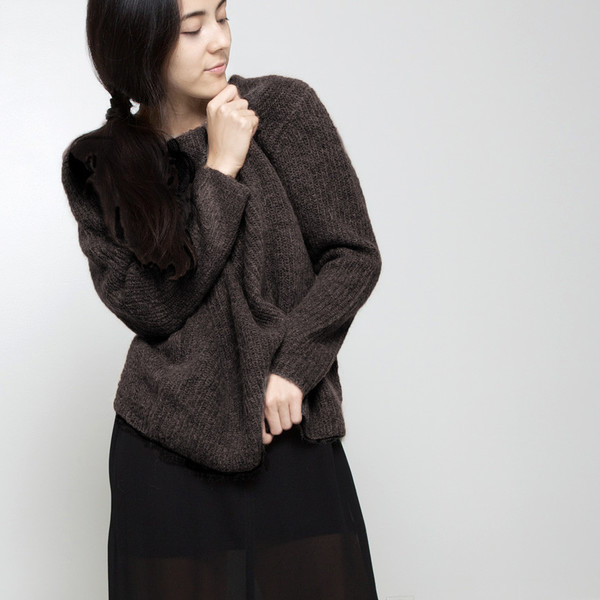 7115 by Szeki Mohair Pullover Sweater FW15 - Molasses