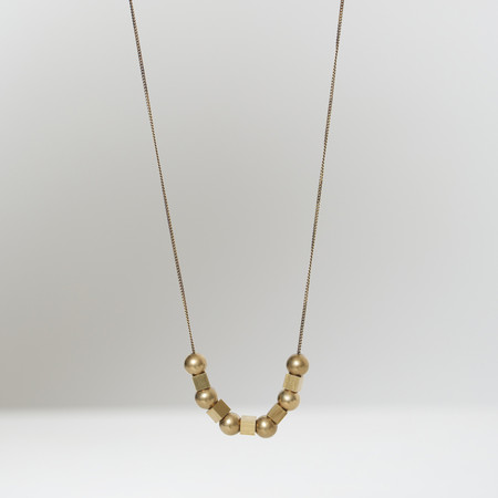 7115 by Szeki Sphere & Cube Brass Necklace