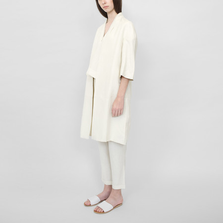 7115 by Szeki Structured Linen Long Coat - SS16 Cream/Navy