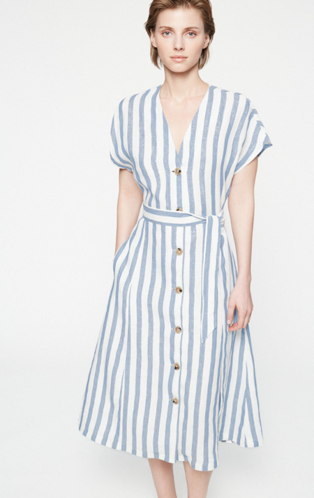Armedangels Striped dress Saalika - breeze blue/off white