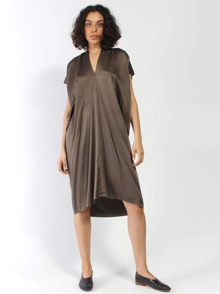 Miranda Bennett Silk Charmeuse Everyday Dress - Badlands Brown