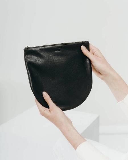 BAGGU Large Leather Zip Pouch - BLACK