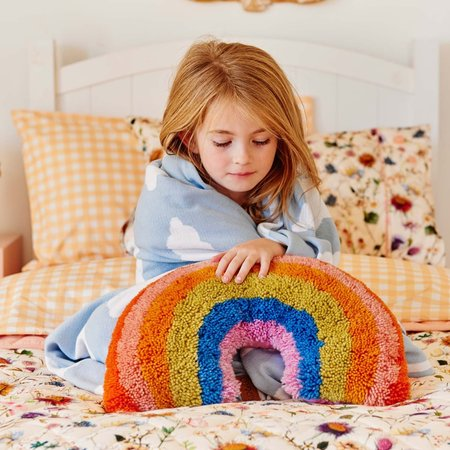 KIP & CO Rainbow Shag Cushion - Multi