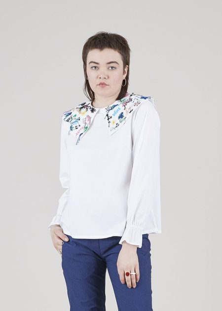 Mii Collection Plate Collar Blouse - White