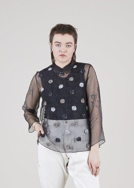 Mii Collection Sheer Alpaca Dot Shirt - Black