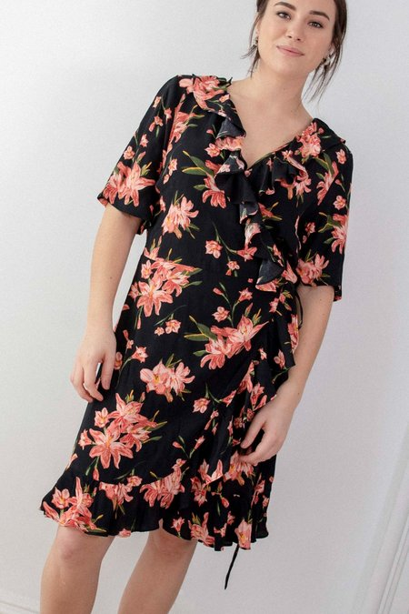 Just Female Online Wrap Dress - Black
