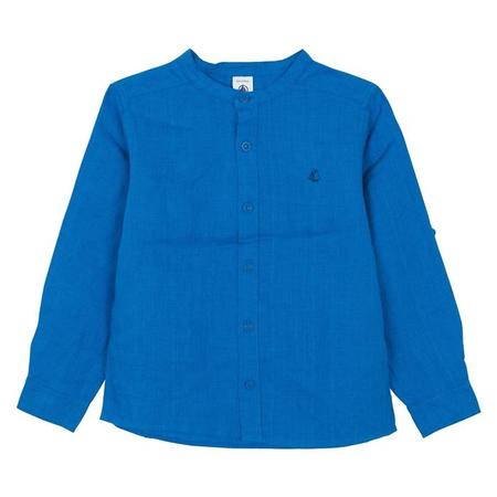 KIDS Petit Bateau Long Sleeved Linen Shirt - Deep Blue