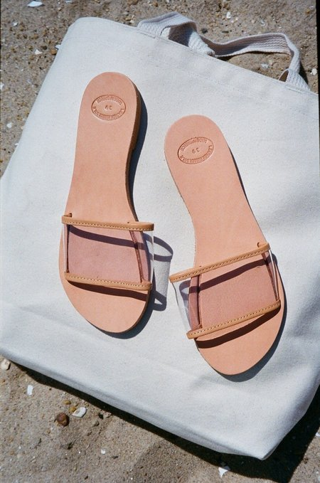 OffSeasonNYC Grecian Translucent Slide Sandal - Natural