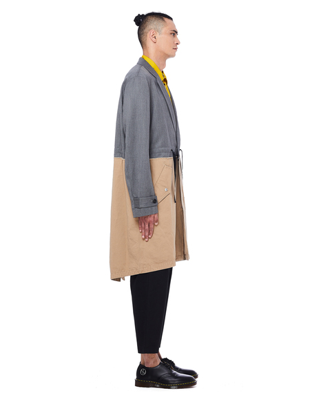 Johnundercover Wool Coat - Grey/Beige