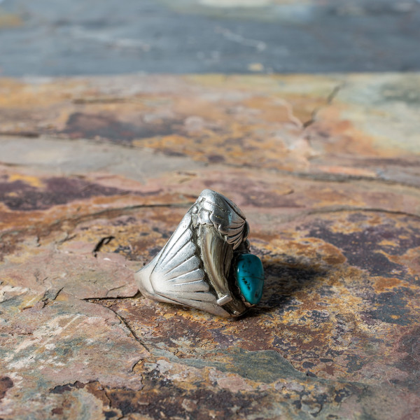 Turquoise Bear Claw Ring