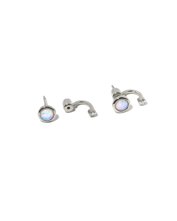 Pamela Single Gravitation Ear Jacket in Sterling Silver with Opal and White Topaz