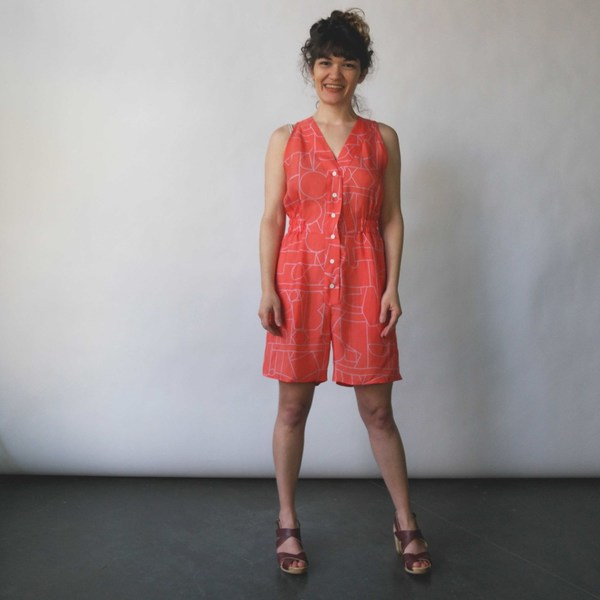 Dusen Dusen Romper in Blockhead Red Print
