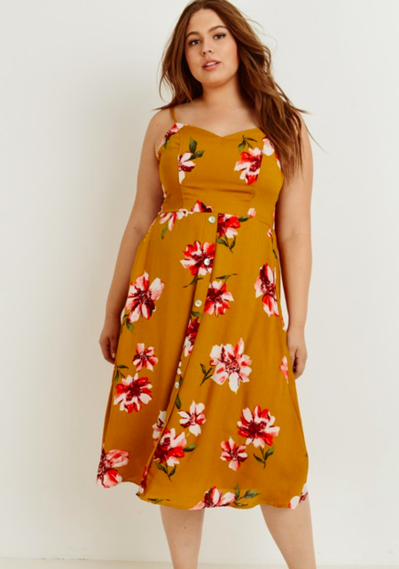 Gilli Plus Size Floral Midi Dress - Mustard