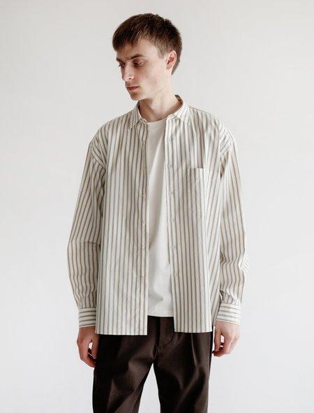 Auralee Washed Finx Twill Stripe Shirt - White Multi