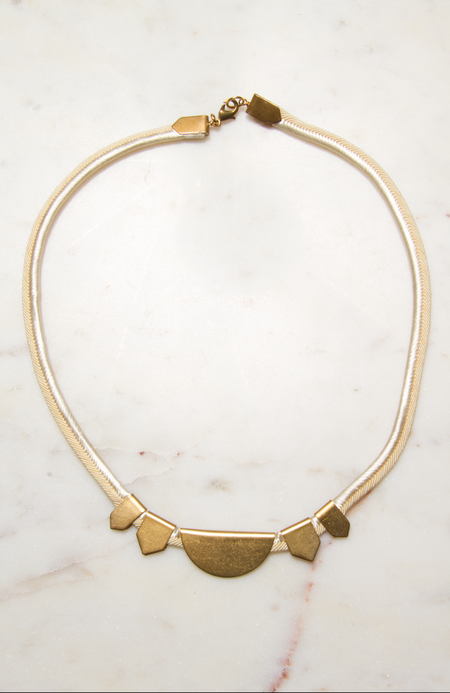 Sandy Hyun Silk Mesh with Brass Shapes Necklace