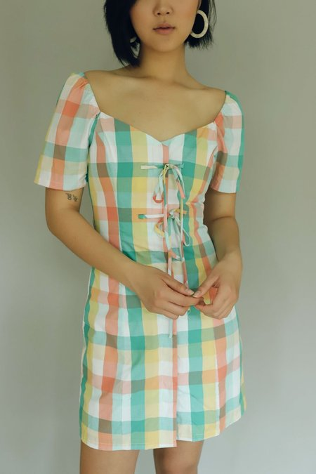 English Factory Dress w/ Ties - Multi Color Gingham