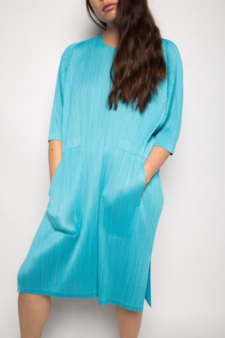 Issey Miyake Pleated Tunic Dress - Aqua