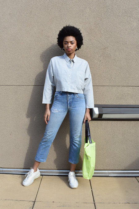 Study NY Cropped Open Back Shirt - Light Grey