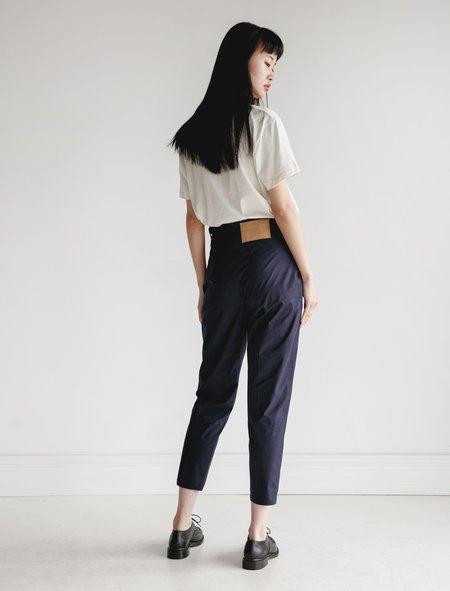 Hache Slim Poplin Trousers - Navy
