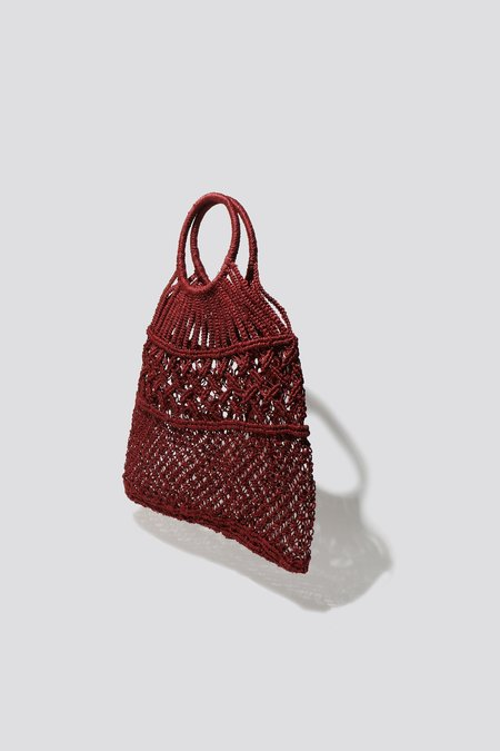 maison bengal Woven Tote - Burgundy