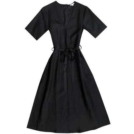 Ali Golden V-NECK DRESS With BUTTONS - BLACK