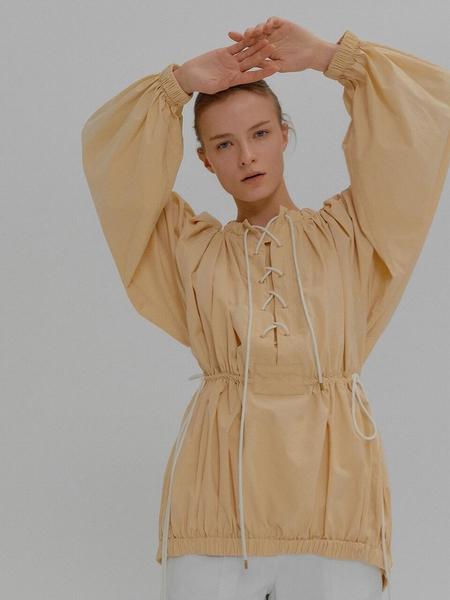 Eenk Muriel Waist String Long Sleeve Tunic Blouse - Beige