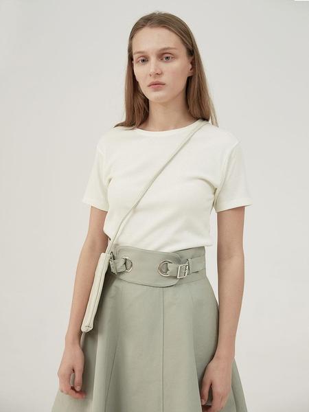 HASTO Pale Eyelet Detail Skirt - Mint