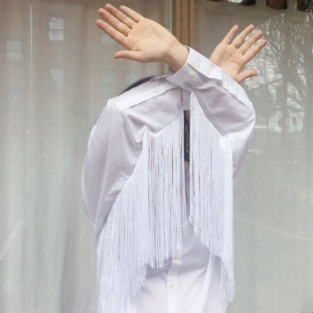 Laurs Kemp Long Reworked Fringe Button-Up SHIRT - WHITE