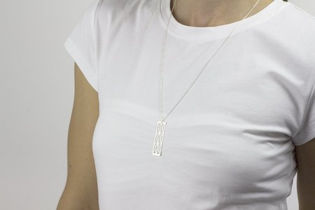 Andrea Shelley Rectangle Necklace - Sterling Silver